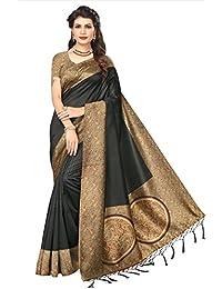 Oomph! Women's Mysore Silk Printed Kalamkari Sarees With Tassles - Charcoal Grey & Beige