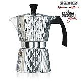 Vitrinor Peppina - Cafetera Italiana de aluminio rápida, diseño, 3 tazas café, inducción, apta para todas las cocinas, 2 juntas de cierre silicona, válvula de seguridad