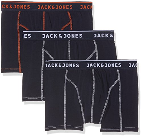 JACK & JONES Herren Boxershorts Jacmatt Trunks 3 Pack, 3, Blau (Navy Blazer Detail:Burnt Ochre), Large (Drucken Logo Baumwolle)