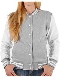 Hochwertige College Damen Jacke Sweatjacke mit Rückenprint Wölfin und Welpe WOLF LINIE - angesagte Old School Jacket grau/weiss : )