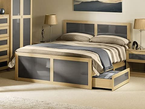 Happy Beds Strada Light Oak with Grey Inserts Wooden Storage Bed 2 Drawers Frame 5' King Size 150 x 200