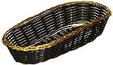 Länglicher ovaler Korb für Oshibori, schwarz mit goldfarbenem Rand, handgewebt