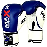 Maxx Blue/White boxing gloves Junior kids & adult sizes Rex leather 4oz