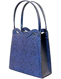 Blue Snake-Skin Print Fashion Hand Bag Clutch Purse With Magnetic Snap Closure PS488