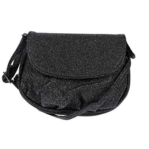 New Bags Schultertasche Abendtasche Umhängetasche Überschlagtasche S NB3041 Kunstleder 19cmx15cmx6cm (BxHxT) (Schwarz (Glitzern))