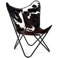 Preisvergleich für DESIGN DELIGHTS Sessel Oklahoma | Kuhfell, Mehrfarbig | Wohnzimmerstuhl, Loungesessel