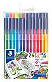 Staedtler 323 Triplus Colour Fibre-Tip Pens, Exclusive Johanna Basford Packaging, 1.0 mm, Assorted Colours, Pack of 26