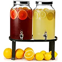 Dual Mason Jar Bebidas Dispensador con soporte 352oz/10ltr | Bar @ Drinkstuff doble dispensador de bebidas, Mason Jar Beverage Dispenser, Doble Bebidas Dispensador, jugo dispensador, dispensador de cóctel
