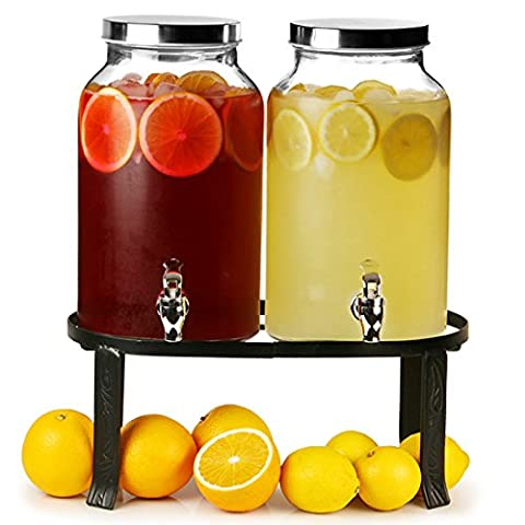 Dual Mason Jar Drinks Dispenser with Stand 352oz / 10ltr   bar@drinkstuff Double Beverage Dispenser, Mason Jar Beverage Dispenser, Double Drinks Dispenser, Juice Dispenser, Cocktail