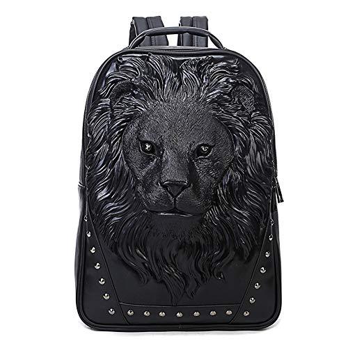 (Znds Punk Rivet Backpack, Unisex 3D Angry Lion Head PU Leder Laptop Backpack für Teenager Girls/Boys Double Shoulder Travelling Bag,Black)