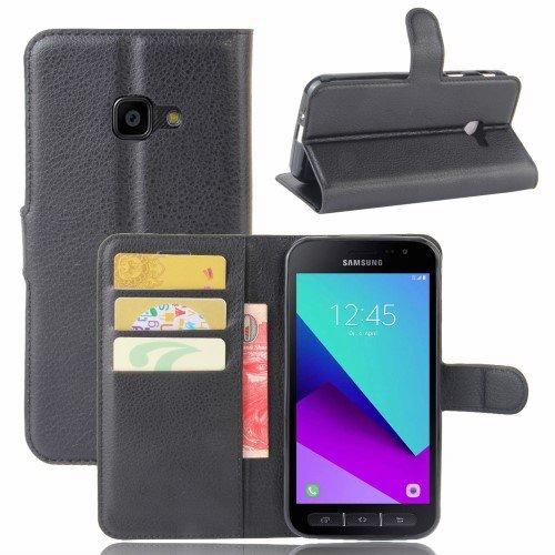 jbTec® Flip Case Handy-Hülle zu Samsung Galaxy Xcover 4 / SM-G390 - Book EINFARBIG - Handy-Tasche Schutz-Hülle Cover Handyhülle Ständer Bookstyle Booklet, Farbe:Schwarz