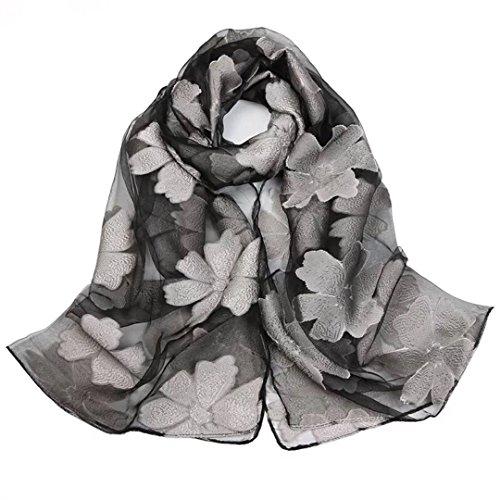 Pluto & Fox Damen Mode Transparente Floral Schiere Wrap Schal mit Feinen Stickereien Details (Grau) (Floral Schiere Wrap)