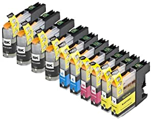 10 Pack Compatible Brother LC123 4 Black, 2 Cyan, 2 Magenta, 2 Yellow for use with Brother DCP-J132W, DCP-J152W, DCP-J172W, DCP-J552DW, DCP-J752DW, DCP-J4110DW, MFC-J245, MFC-J470DW, MFC-J650DW, MFC-J870DW, MFC-J2310, MFC-J2510, MFC-J4410DW, MFC-J4510DW, MFC-J4610DW, MFC-J4710DW, MFC-J6520DW, MFC-J6720DW, MFC-J6920DW. Ink Cartridges for inkjet printers. LC123BK , LC123C , LC123M , LC123Y © Cartridge Net