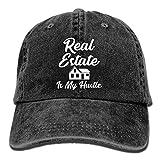 Fsrkje Real Estate is My Hustle Funny Realtor Gift Unisex Washed Twill Cotton Baseball Cap Vintage Adjustable Hat