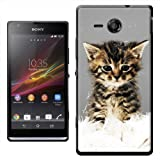 Chatons Coque rigide pour Sony modèles, plastique, Cute Kitten On Soft White Rug, Sony Xperia SP
