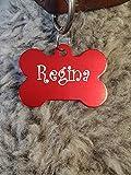 Gravuren store Hundemarke Knochen XXL Adressanhänger aus Aluminium, mit beidseitiger Lasergravur, 50mm X 37mm (rot)