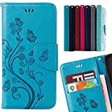 LEMORRY für Samsung Galaxy S9+ S9 Plus Hülle Ledertasche Flip Magnetisch Kartenschlitz SchutzHülle Weich Silikon Cover Handyhülle Schale für Samsung Galaxy S9+, Glückliches Gras (Blau)