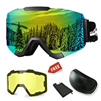 WLZP Ski Goggles, Magnetic Interchangeable Ski Goggles with 2 Modeling Lens, Anti-fog UV400 Protection Winter Snow Snowboard Goggles, Frameless Dual Lens for Men Women Youth Snowmobile Skiing Skating
