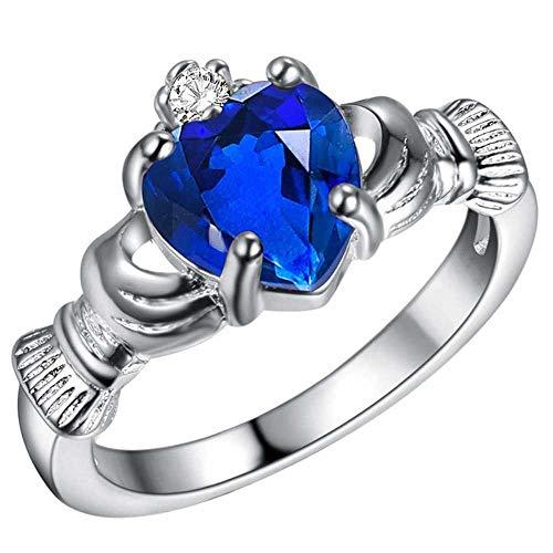 KLMFG Edelstahl Schmuck Damen weißes Gold überzog Saphir Blau CZ Claddagh Herz Promise Ring, Verlobung, Hochzeit Band