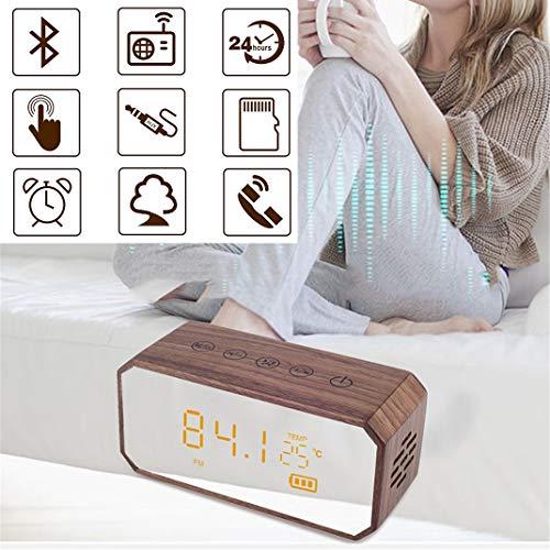 Hölzerner Spiegel Bluetooth Wecker Lautsprecher, LED-Flüssigkristallanzeige Touch-Steuerung FM-Radio Doppelter Wecker, Freisprechen Funktion aufrufen,4