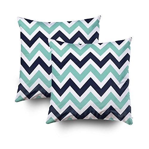 Capsceoll 2 Kissenbezüge mit Reißverschluss, 40,6 x 40,6 cm, Aqua- und Marineblau, Baumwolle, Multi 1, 16x16 Hot Versteckte Video