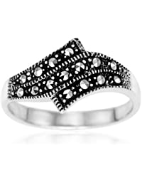 Ornami Silver Marcasite Set Bypass Ring