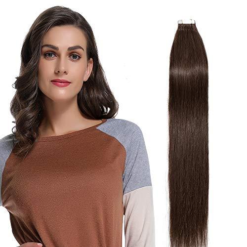 30-60cm extension capelli veri biadesivo nero - 35cm 50g 20 ciocche - 100% remy human hair umani lisci, 4 marrone cioccolato