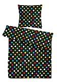 """Seersucker Sommer-Bettwäsche Set """"Bunte Punkte"""" 135 x 200 cm in Schwarz – Bett-Bezüge aus 100%-Baumwolle mit Reißverschluss - Der bügelfreie & luftig leichte Bett-Bezug für die warme Jahreszeit"""