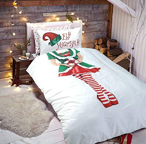 Deluxe Beddings 3D Weihnachts-Elfe selbst Mädchen Xmas Poly-Baumwoll-Bettbezug Steppdecke Kissenbezüge Bettwäscheset Multi-Einzel-, Doppel- und King-Size-Bett, Polycotton, Multi, Einzelbett