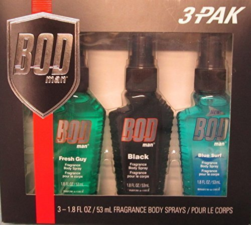 Bod Man Gift Set 1.8 oz Fragrance Body Sprays Includes Fresh Guy, Blue Surf & Black by Bod Man