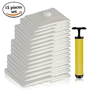 Premium Sacs de rangement sous vide Bundle avec main Pompe à vide | facile d'utilisation, réutilisables, 6tailles zippé, plastique Sacs à économie d'espace pour le rangement, Voyage et organisation de l'Armoire (15PC Value Pack)