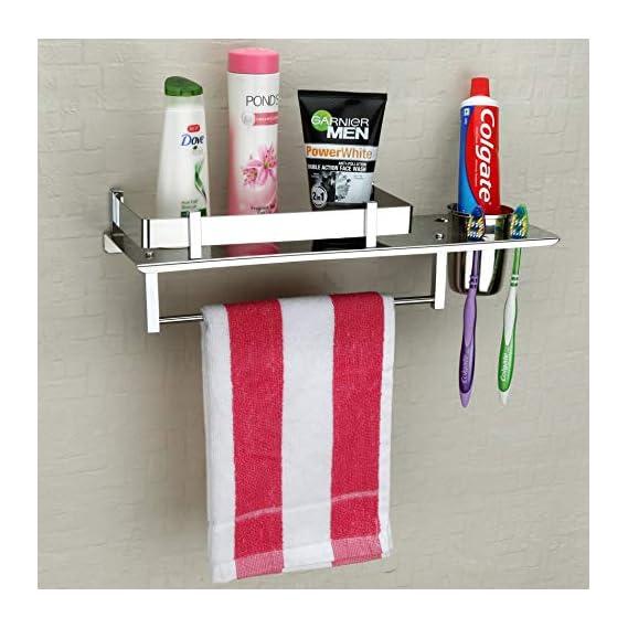Plantex Stainless Steel 3 in 1 Multipurpose Bathroom Shelf/Rack/Towel Hanger/Tumbler Holder/Bathroom Accessories (15 x 6 Inches)