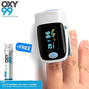 Oxy99 Fingertip Pulse Oximeter Comes With Oxy99 Portable Oxygen Cylinder