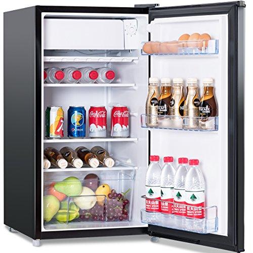 COSTWAY Kühlschrank mit Gefrierfach Standkühlschrank Gefrierschrank Kühl-Gefrier-Kombination/A+ / 91L / Schwarz [Energieklasse A+]