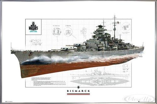 Close Up World of Warships Poster Schlachtschiff Bismarck (62x93 cm) gerahmt in: Rahmen Silber