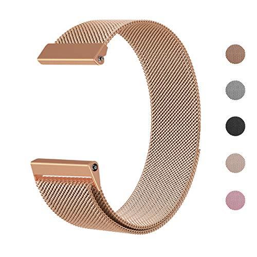 Defurhome Für Fitbit Versa Armband,Milanese Loop Edelstahl Verstellbare Ersatz Armbänder mit Magnetverschluss für Fitbit Versa Smartwatch(Klein,Roségold)