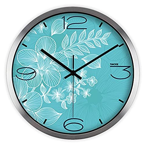 Industrial wall clock, Wall clock living room mute pastoral warm fresh blue pattern fashion quartz watch Wall clock ( Color : Silver Border