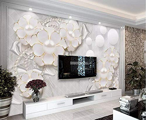 Atr carta da parati murale 3d bianco gioiello fiore tv sfondo muro f in rilievo stereo camera da letto sfondo murales 3d wallpaper-220 * 180 cm