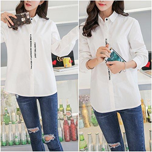Smile YKK Top Manche Longue Femme Coton T-shirt Chemisier Col Chemise Blouse Eté Casual Mode Blanc