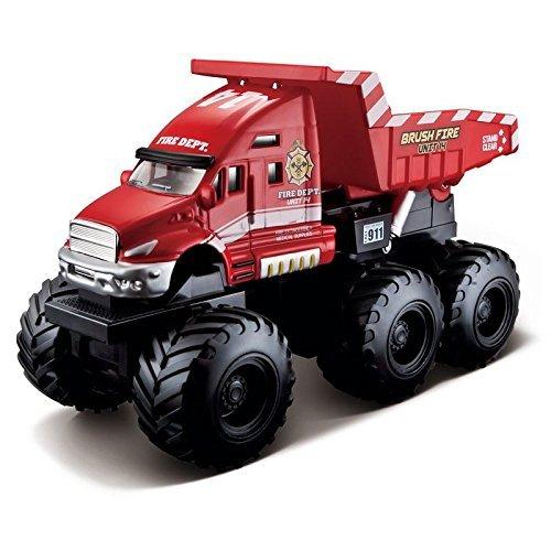 Maisto Fresh Metal Builder Zone Quarry Monsters Red Fire dep Dump Truck by HTS (Truck Red Dump)