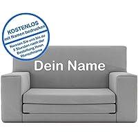 2 in 1 Kindersofa in Silbergrau mit Waschbarem Überzug - Als Geschenk Individuell Bedrucken - Schaumstoff aus Deutschland Spielzeug Couch und Bett Schlaf Matratze zum Auffalten für Kinder von 1-4