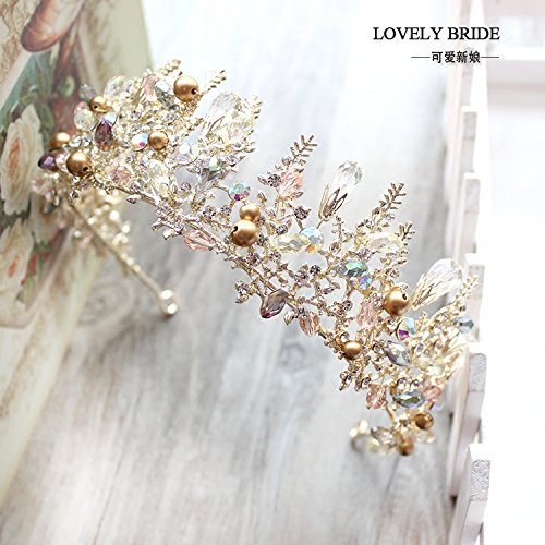 Crow, handgefertigten Perlen, exquisite Gold crystal Tiara, bridal Wedding Dress, Bankett, Haarspangen Crow, Boutique Krone (Kind Crow Kostüme)