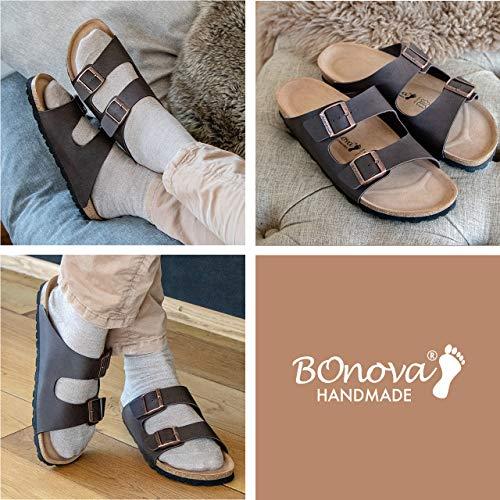 Bild von BONOVA Hausschuhe für Herren, Pantoletten mit Fußbett aus Naturkork. Bequem, langlebig + hergestellt in der EU