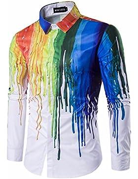 Camiseta de manga larga de moda hombres otoño e invierno 3d individual inmerso de solapa camisa grande