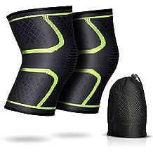 2 x Rodillera de compresión, AGPTEK manga atlética de la rodilla para correr, senderismo, Fitness y Deportes al aire libre, evita lesiones de rodilla y alivia el dolor, Talla M