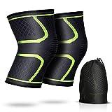 AGPTEK 2 Stück Elastische Kniebandage wirkt schmerzlindernd bei Gelenkkrankheiten wie Arthrose, Kompression Knieschoner für mehr Stabilität beim Sport, Alltag, Hellgrün
