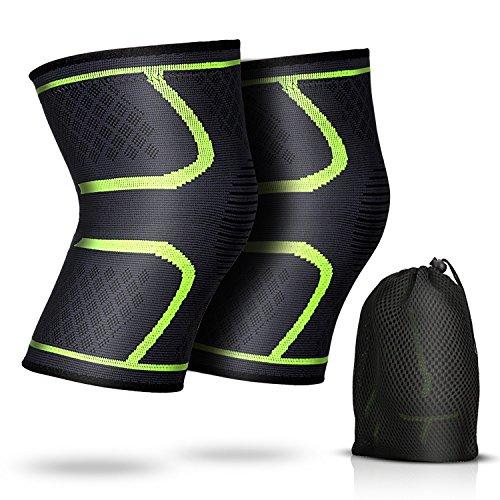 2 Stück Elastische Kniebandage wirkt schmerzlindernd bei Gelenkkrankheiten wie Arthrose, Kompression knieschoner für mehr Stabilität beim Sport, Alltag, von AGPTEK, Hellgrün (Mesh-kniebandage)