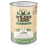 Wildes Land | Nr. 1 Lamm | 6 x 400 g | mit Reis, Zucchini, Wildkräutern & Distelöl | Glutenfrei | Extra viel Fleisch | Nassfutter für alle Hunderassen | Beste Akzeptanz und Verträglichkeit | Rohstoffe aus der Lebensmittelproduktion