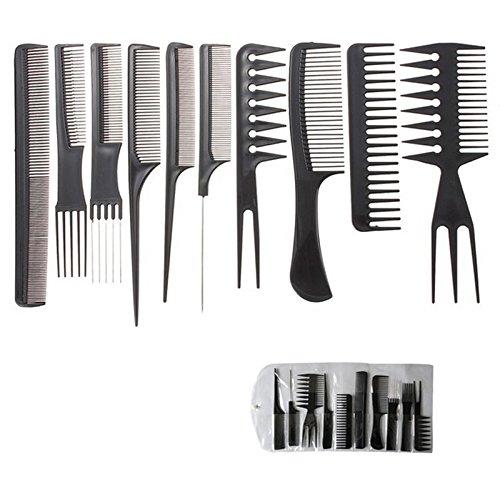 Takestop® set 10 pezzi pettini pettine per capelli professionale forchetta coda spazzola styling tutti tipi capelli barbiere parrucchiere