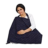 #9: Lulu Mom Nursing Cover for Breastfeeding Privacy EXTRA WIDE for Full Coverage - Breathable 100% Cotton , Stylish and High Quality - Summer Story printed Feeding Cloak (BLUE)